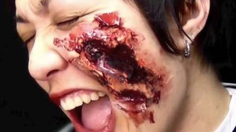 Making a Face Wound with Glass Debris