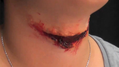 Creating a Slashed Throat Halloween Makeup